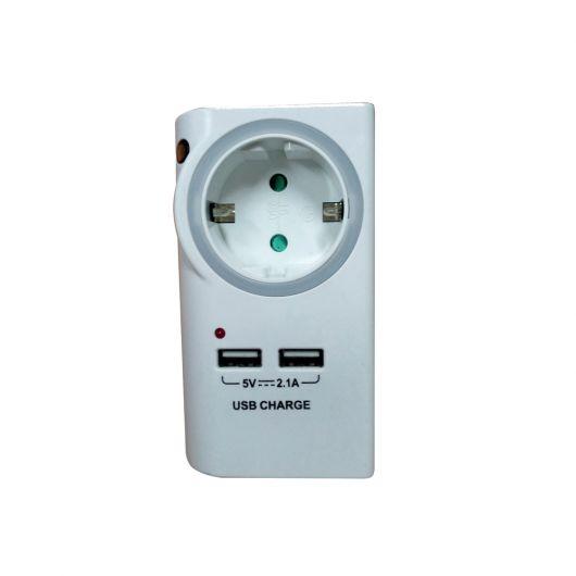 Πρίζα με 2 θύρες USB & φωτάκι νυκτός Λευκό SQ-GZB01/01NU